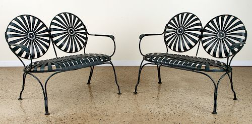 PAIR FRANCIS CARRE STYLE IRON SPRING CHAIRS 1940