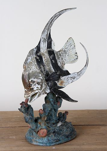 POLYCHROMED BRONZE FISH GARDEN ORNAMENT ON BASE