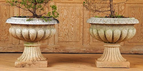 PAIR CARVED STONE GARDEN PLANTERS MELON FORM BOWL