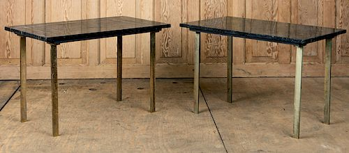 PAIR BRASS INLAID MARBLE TOP SIDE TABLES