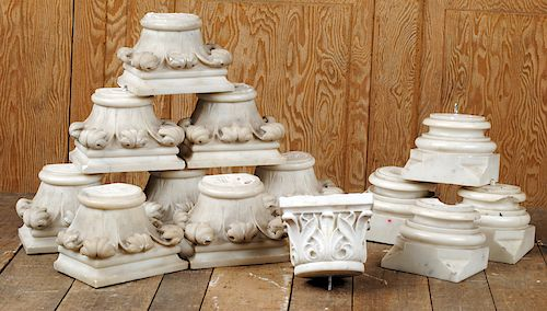 NINE CARVED MARBLE CAPITALS WITH FOUR BASE PIECES