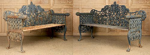PAIR CAST IRON BENCHES OAK PINE CONE DECORATION