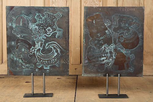 PAIR COPPER PRINTING PLATES MUSEUM STYLE STANDS