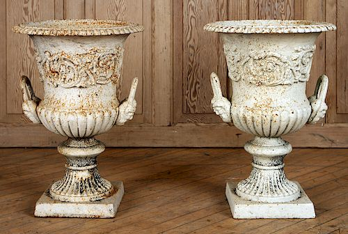 PAIR WHITE CAST IRON NEOCLASSICAL GARDEN URNS