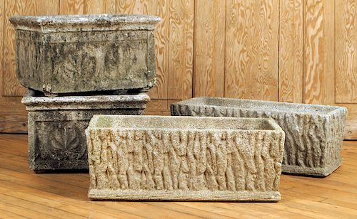 TWO PAIRS STONE NATURALISTIC GARDEN PLANTERS