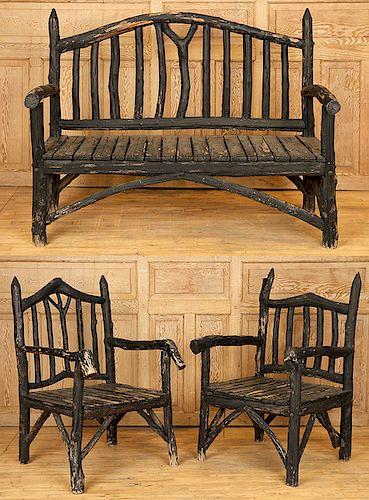 THREE-PIECE ADIRONDACK GARDEN BENCH AND CHAIRS