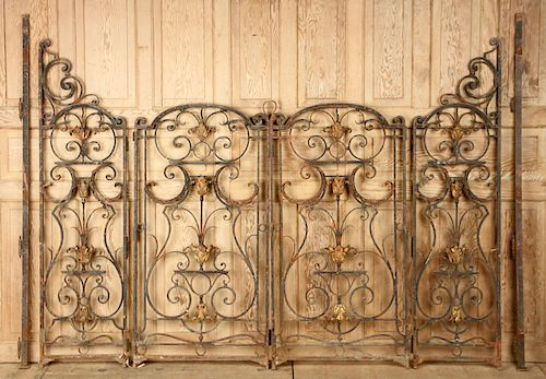 CAST AND WROUGHT IRON FOUR PANEL GARDEN GATE 1890