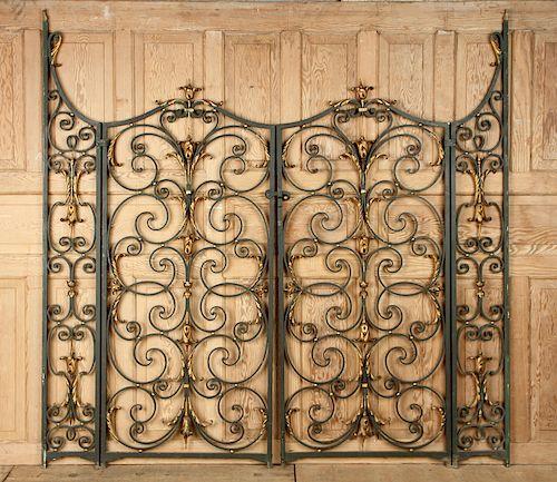 ELABORATE PAIR FRENCH IRON GATES C. 1900