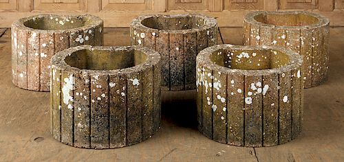 FIVE FRENCH CAST STONE FLUTED GARDEN PLANTERS