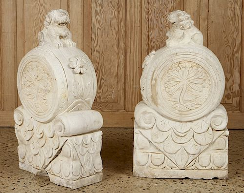PAIR CARVED MARBLE FOO DOG GARDEN STONES