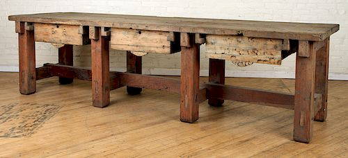 LARGE RUSTIC WOOD WORK TABLE THREE DRAWERS 1910