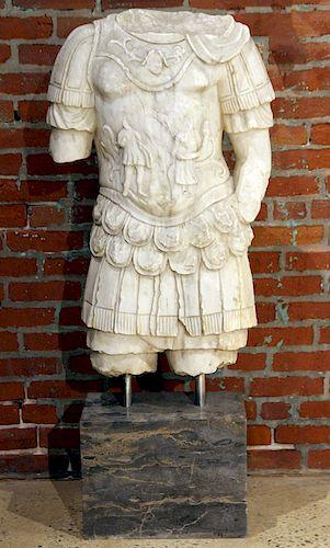 A MARBLE SCULPTURE ROMAN GLADIATOR TORSO