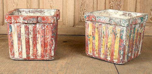 PAIR FRENCH CAST STONE PLANTERS POLYCHROMED 1950