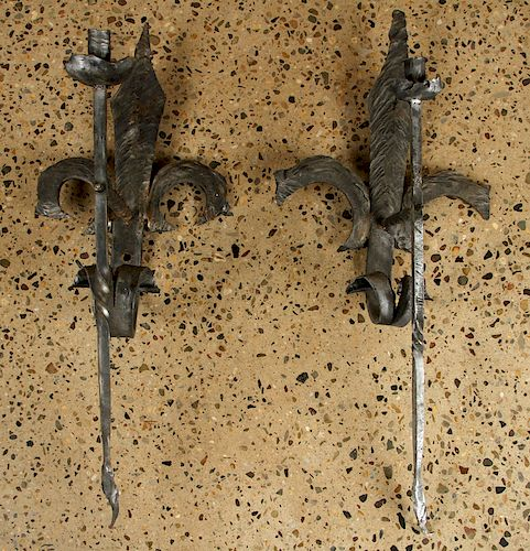 THREE GOTHIC STYLE ONE LIGHT IRON SCONCES C.1930