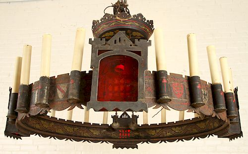GOTHIC STYLE POLYCHROME IRON 24 LIGHT CHANDELIER