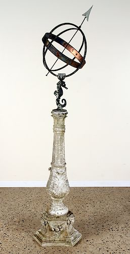 ANTIQUE IRON ARMILLARY ON CARVED MARBLE BASE