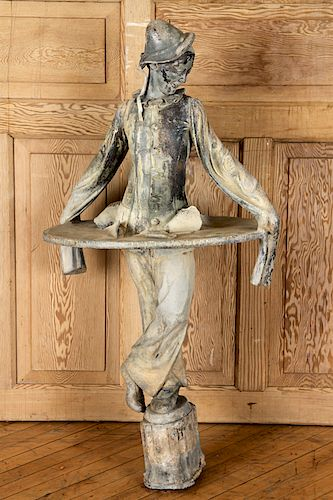 LEAD FIGURE BY GERTRUDE KNOBLOCK SIGNED AND DATED