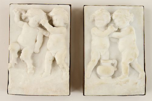 PAIR 19TH CENTURY WHITE MARBLE PLAQUES