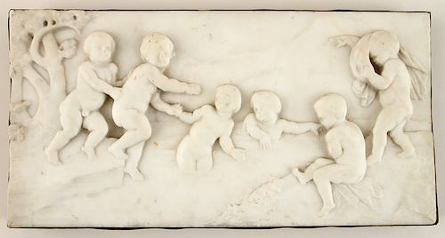 19TH C. WHITE MARBLE PLAQUE BACKED WITH COPPER