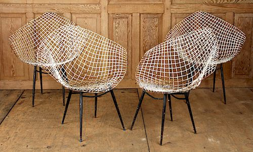 SET 4 IRON GARDEN CHAIRS ATTR. BERTOI KNOLL 1970