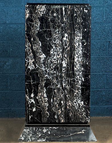ART DECO TALL BLACK MARBLE PEDESTAL WHITE VEINING