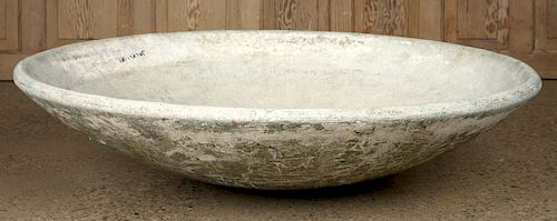 FRENCH CAST STONE DISC FORM PLANTER BY WILLY GUHL