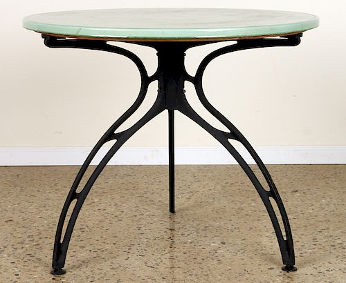 FRENCH IRON GARDEN TABLE GLAZED CERAMIC TOP 1970