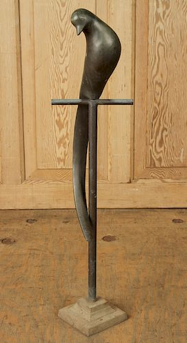 AN ELEGANT BRONZE BIRD ON STAND C. 1970
