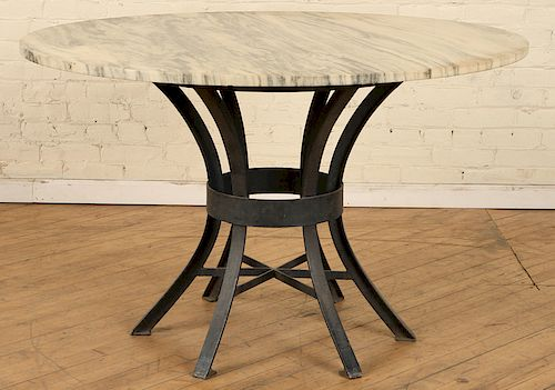 IRON MARBLE TOP TABLE SPIDER WEB DESIGN BASE 1940
