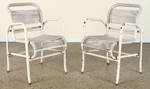 PAIR FRENCH PAINTED IRON OPEN ARM CHAIRS C.1960