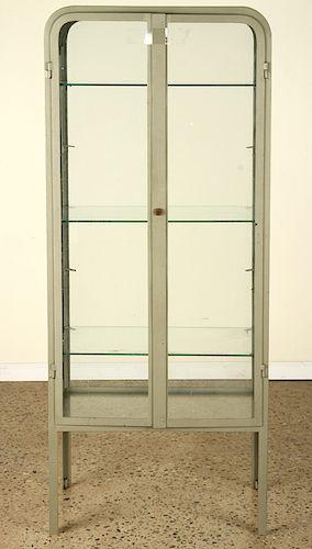 2 DOOR IRON & GLASS VITRINE 3 GLASS SHELVES 1920