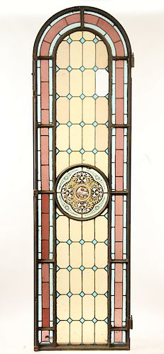 ARCHED TOP LEADED PAINTED GLASS WINDOW C.1900