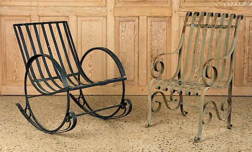 ONE PAINTED IRON STRAP CHAIR & ONE ROCKING CHAIR