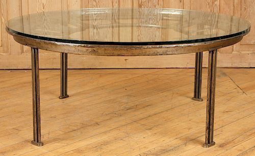 CAST IRON GLASS TOP COFFEE TABLE CLOCK FACE FORM