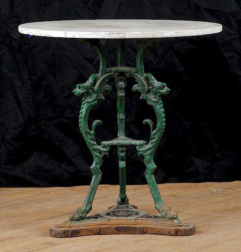 ITALIAN CAST IRON AND MARBLE TOP GARDEN TABLE