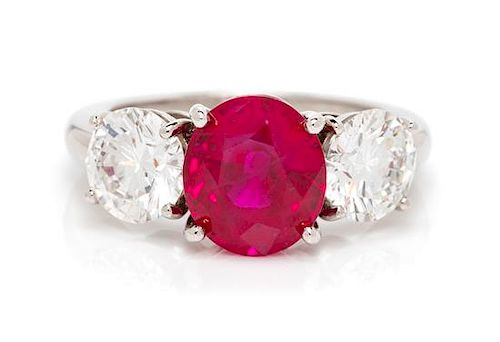 A Platinum, Ruby and Diamond Ring, 5.40 dwts.