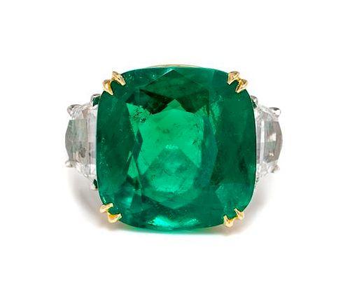 A Platinum, 18 Karat Yellow Gold, Emerald and Diamond Ring,
