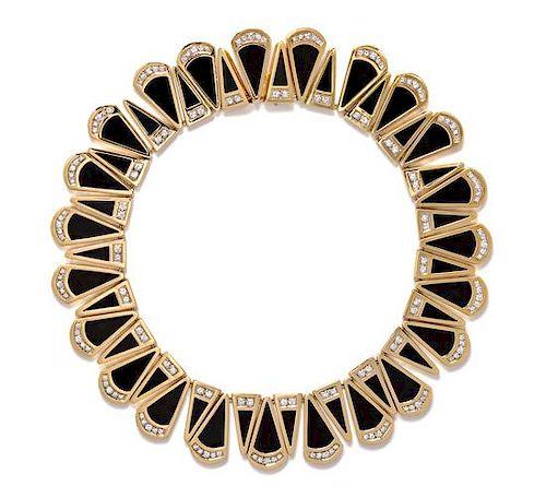 An 18 Karat Yellow Gold, Diamond and Onyx Collar Necklace, Susan Berman, 166.50 dwts.