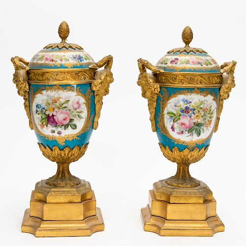 Pair, 20th C. Sevres Style Covered Urns