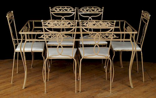 A LOT OF TWENTY-ONE PIECES IRON PATIO FURNITURE