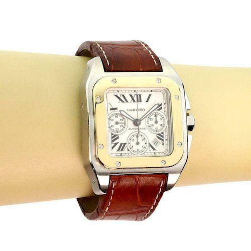 c638194ad33f4 Cartier Chronograph Santos 100 18K Steel Auto Men's by Allure ...