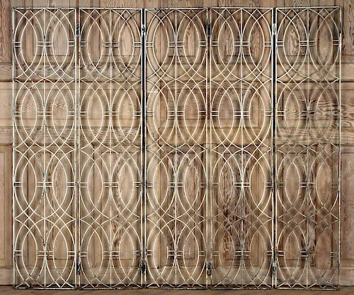 FIVE PANEL WROUGHT IRON ROOM DIVIDER C.1940