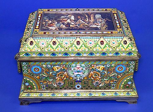 RARE HUGE RUSSIAN ENAMEL SILVER BOX
