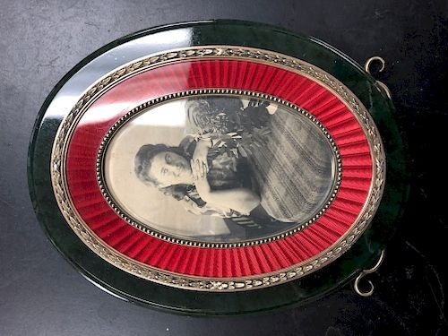 Faberge Russian Nephrite Enamel Silver Picture Frame