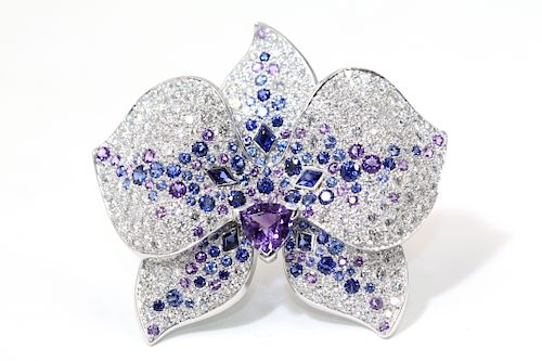 Cartier White Gold Orchard Flower Diamond Sapphire