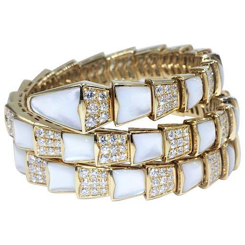 BVLGARI Serpenti 18K MOP Diamond Bracelet
