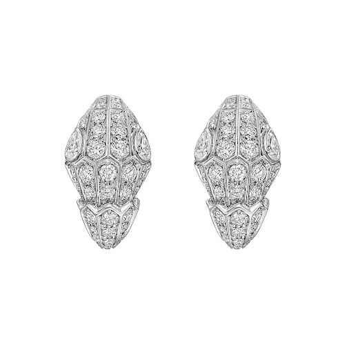 BVLGARI Serpenti 18k White Gold Full Diamond Pave