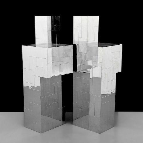 """2 Paul Evans """"Cityscape"""" Pedestals"""