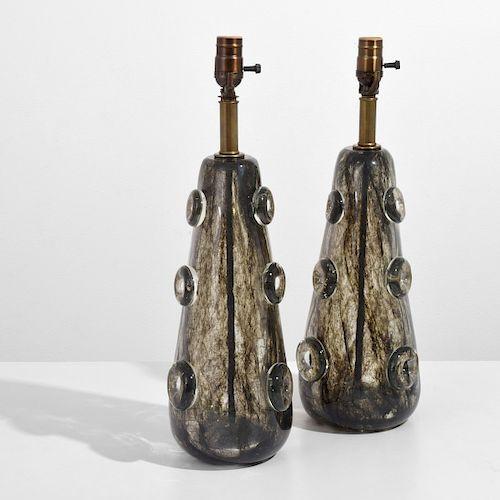 "Pair of Rare Ercole Barovier ""Crepuscolo"" Lamps"