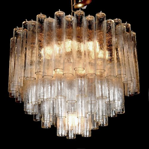 Large Camer Glass Tiered Chandelier, Murano